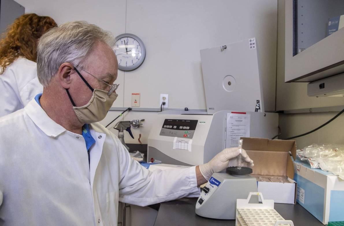 scientist using a vortex mixer to agitate a sample.